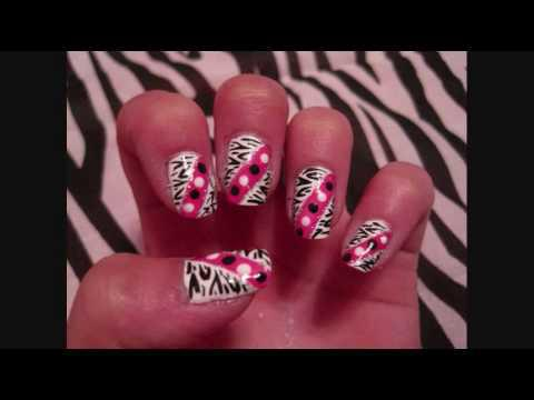 Νύχια με Zebra Print και πουά Zebra Print and Polka Dots Nail Tutorial