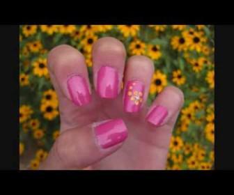 Σχέδιο στα νυχια με ροζ και κίτρινο λουλούδι Simple Pink and Yellow Flower Nail Tutorial