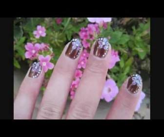 020 336x280 - Νύχια με σχέδιο ροζ λουλουδάκια Nail Art Tutorial για κοντά νύχια